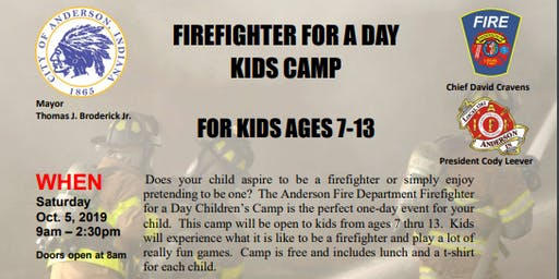 Anderson Fire Department Inaugural Firefighter for a Day Kids Camp