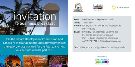 Business Breakfast hosted by Pilbara Development Commission and LandCorp