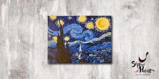 Sip & Paint MY @ EGG Sunway: Starry Night by Van Gogh