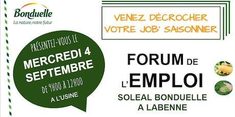 Forum emploi Soleal Bonduelle Labenne 2019 billets
