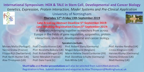 International Symposium: HOX and TALE in Stem Cell, Developmental and Cancer Biology tickets