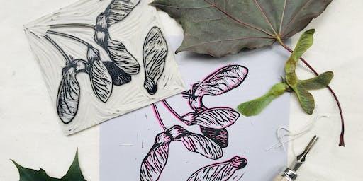 Linocut printmaking workshop - Sensational Seed Heads