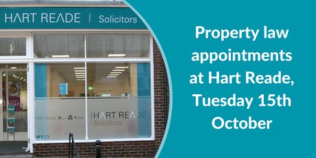 Property law appointments at Hart Reade (Meads) - 15th October 2019 tickets