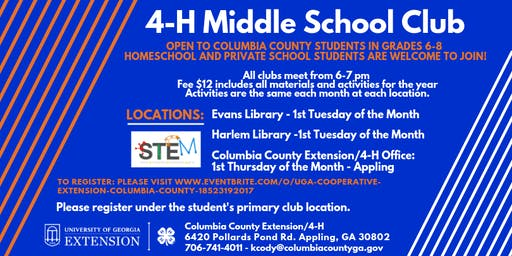 4-H Middle School Club - Evans Library (Grades 6-8/ $12)