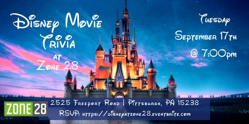 Disney Movie Trivia at Zone 28