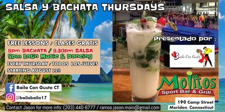 Free Salsa and Bachata lessons at Mojitos by Baila Con Gusto CT tickets