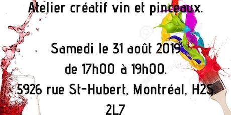 Atelier créatif vin et pinceaux. tickets