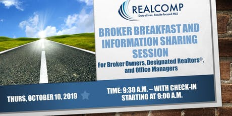 Realcomp Broker Breakfast-Thursday, October 10, 2019-check-in begins at 9:00 a.m. tickets