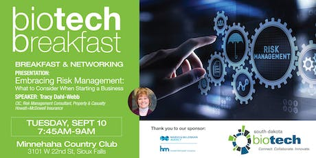 """Biotech Breakfast: """"Embracing Risk Management: What to Consider When Starting a Business"""" tickets"""