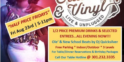 "Plz Fwd: DMV...Your Friday Happy Hour Just Got Better with ""HALF PRICE FRIDAYS""...ALL EVENING during Uptown Crates & Vinyl w/ Carl Harper & Dj Quicksilver @ Station One...EVERY FRIDAY in Dwntn Silver Spring, Md! RSVP ONLINE ASAP to get on The VIP Guest Li"