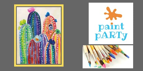 All Ages Paint Party on Canvas - Colorful Cacti - $25pp tickets