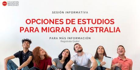 OPCIONES EDUCATIVAS PARA MIGRAR A AUSTRALIA CDMX tickets