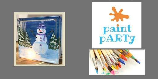 Paint'N'Sip Glass Block - Snowman - $35pp