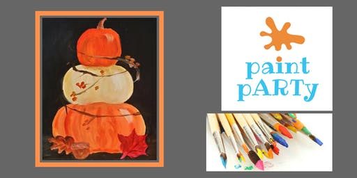 Paint'N'Sip Canvas - Stacked Pumpkins - $35pp