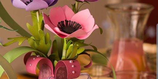 Create a papercraft flowers and vase