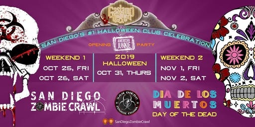 2019 Halloween : San Diego Zombie Crawl Meets Day of The Dead
