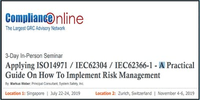 How To Implement Risk Management in Medical Devices Industry: 3-day In-Person Seminar