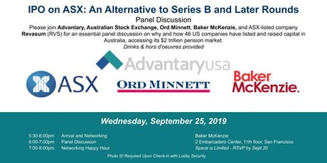 IPO on ASX: An Alternative to Series B and Later Rounds Panel  tickets