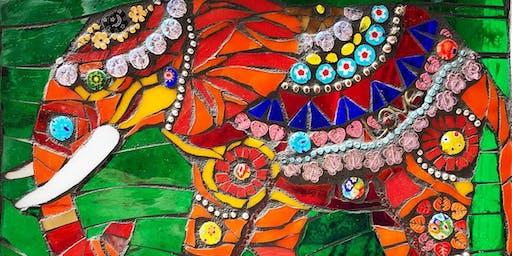 """Mosaic with Mary: """"Fresh Take on Folk Art"""" India Elephants"""