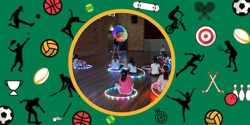 Rainbow Glowing LED Hula Hoop Rave! (8 to 12 years)