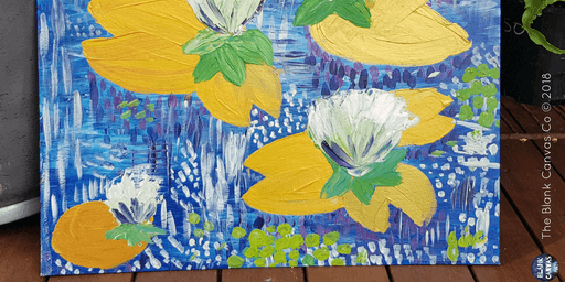 Paint'n'Pints™ Golden Lilies with Gesso Flowers Painting Class with Beer in Milton