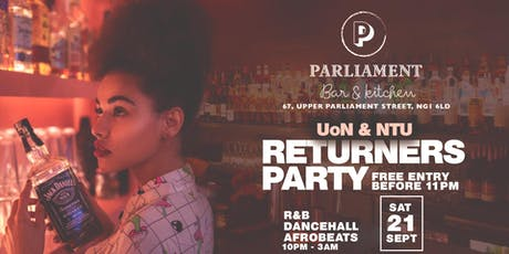 Parliament Bar UoN & NTU Returners Party 2019. tickets