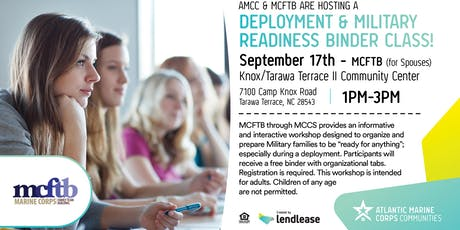 AMCC & MCFTB ARE HOSTING A DEPLOYMENT & MILITARY READINESS BINDER CLASS tickets