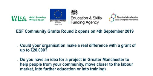 WEA Greater Manchester ESF Community Grants Workshop - Tameside