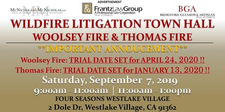 Wildfire Litigation Town Hall: Woolsey Fire and Thomas Fire tickets
