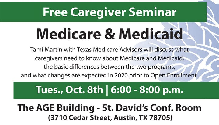 Upcoming Changes To Sat Free Talk For >> Medicare And Medicaid For Caregivers Tickets Tue Oct 8 2019 At 6