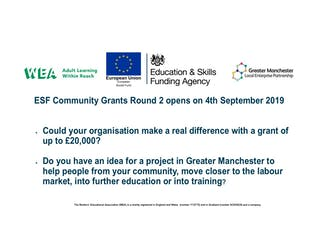 WEA Greater Manchester ESF Community Grants Workshop - Bury tickets