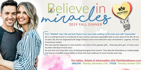 Fall Dinner with Aly & Josh Taylor Believe in Miracles - Tyler tickets