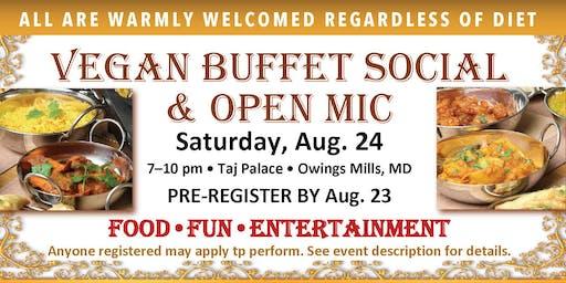 Vegan Buffet Social & Open Mic • SAT, AUG. 24 • Pre-Register by Fri, 8/23
