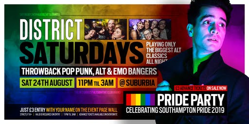 DISTRICT Southampton // The Pride Party // This Saturday at Suburbia