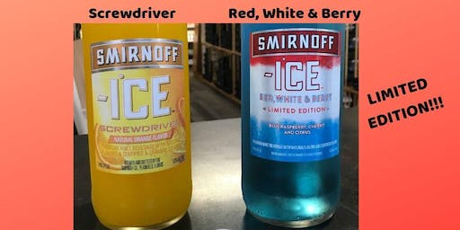 Smirnoff Ice Saturday!! Screwdriver + Red, White & Blue Sampling