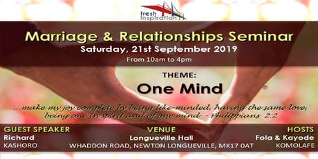 One Mind : Marriage & Relationship Seminar tickets