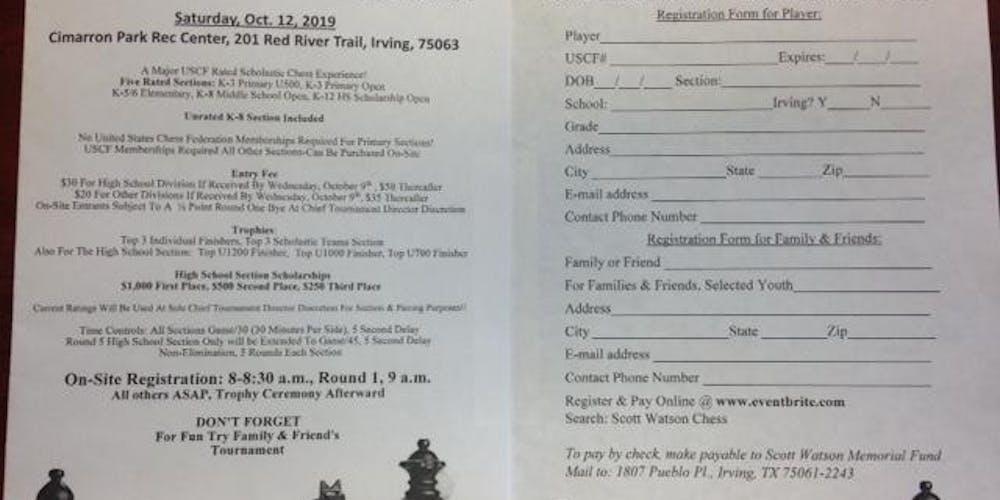 10th Annual Scott Watson Memorial Scholarship Chess Classic