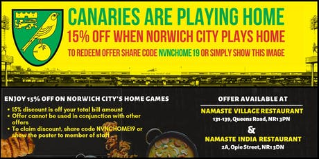 Flat 15% Off The Bill | Norwich City FC's Home Game Offer tickets
