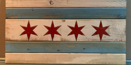 "Chicago Flag sign - Large (20"" X 35"") routed sign to hand paint! - BYOB tickets"