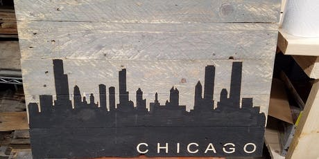 Chicago skyline sign - Large (16.5 X 24) routed sign to hand paint! - BYOB tickets