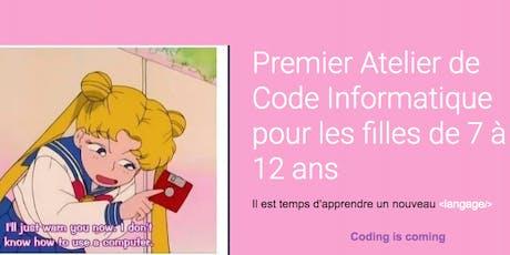 Atelier Code Informatique pour les Filles de 7 à 8  ans billets