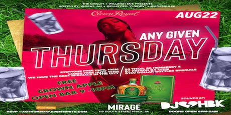 Any Given Thursday at Mirage Lounge 8•22•19 tickets
