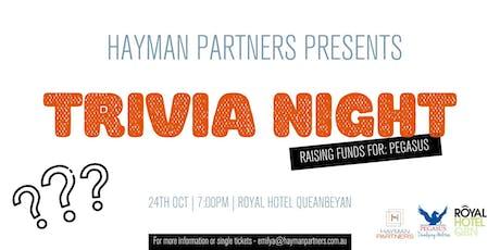 Hayman Partners Charity Trivia Night tickets