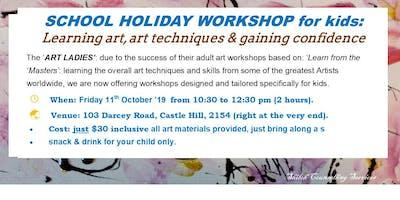 KIDS SCHOOL HOLIDAY WORKSHOP: teaching art & art techniques