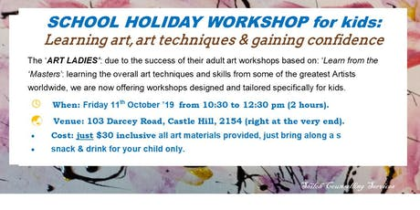 KIDS SCHOOL HOLIDAY WORKSHOP: teaching art & art techniques tickets