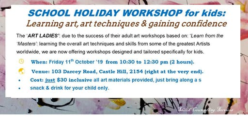 KIDS SCHOOL HOLIDAY WORKSHOP: teaching art & art techniques