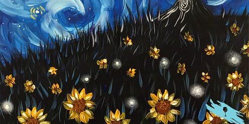 Night Meadow with a Starry Twist (2hr Paint & Sip) - BYO Food & Drink