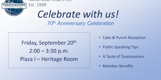 Nationwide Toastmasters 70th Anniversary Celebration