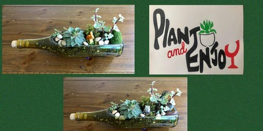 "Plant and Enjoy at Parma Pizza Dallastown   ""Succulents in wine bottles"""