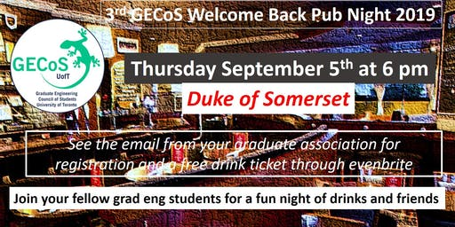 3rd GECoS Welcome Back Pub Night 2019
